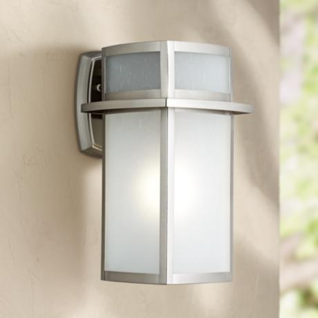 delevan 13 high brushed nickel outdoor wall light 3c777 lamps. Black Bedroom Furniture Sets. Home Design Ideas