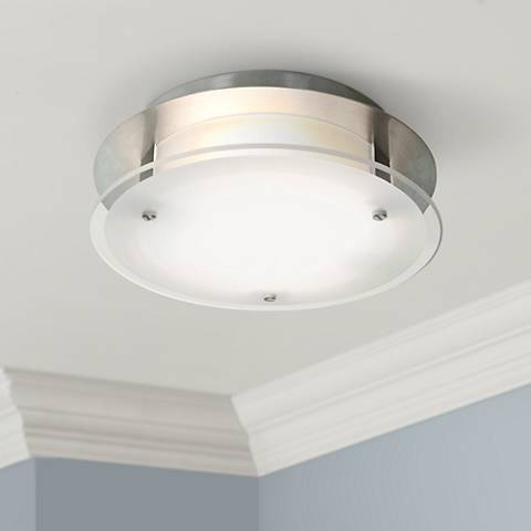 "Access Vision Round 10"" Wide Brushed Steel Ceiling Light"