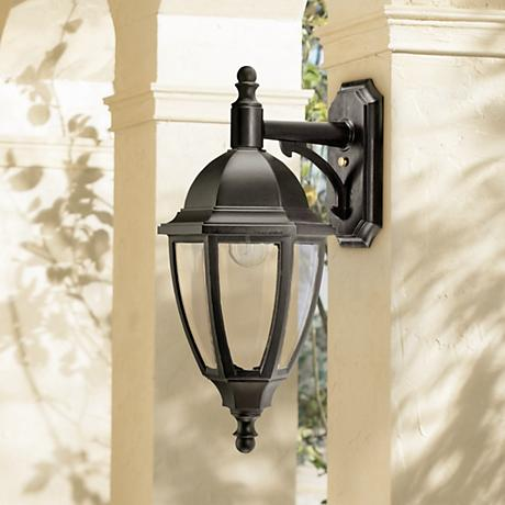 "Everstone 23 1/4"" High 100W Black Outdoor Wall Lantern"