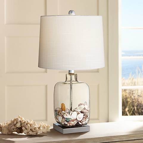 Square Glass Fillable Table Lamp