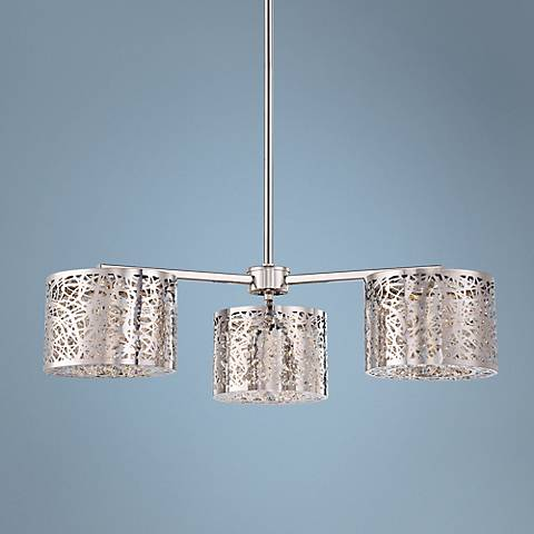 "George Kovacs 27"" Wide Chrome LED Chandelier"