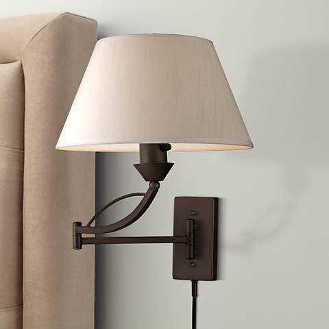 elysburg aged bronze plug in swing arm wall lamp 3f462. Black Bedroom Furniture Sets. Home Design Ideas