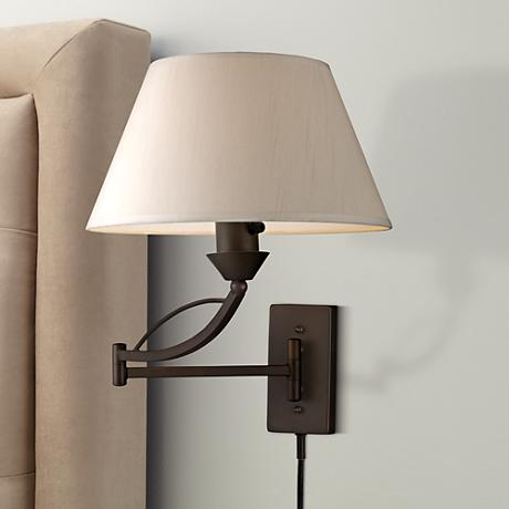 Elysburg Aged Bronze Plug In Swing Arm Wall Lamp 3f462