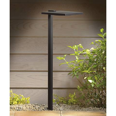 "Kichler 6"" Wide 3000K LED Shallow Shade Black Path Light"
