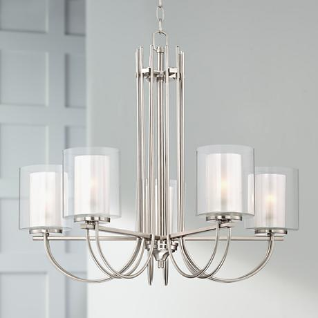 "Possini Euro Melody 26 3/4"" Wide Brushed Steel Chandelier"
