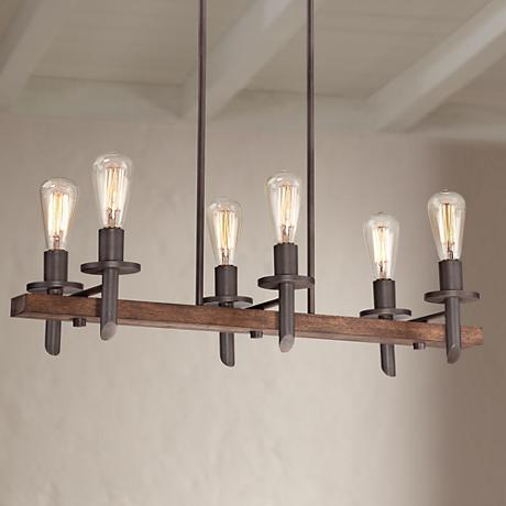 Quoizel Tavern 6-Light Island Dark Bronze Chandelier
