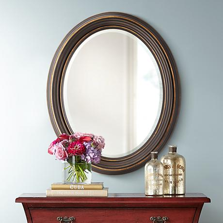 "Uttermost Ovesca 28"" x 34"" Decorative Oval Wall Mirror"