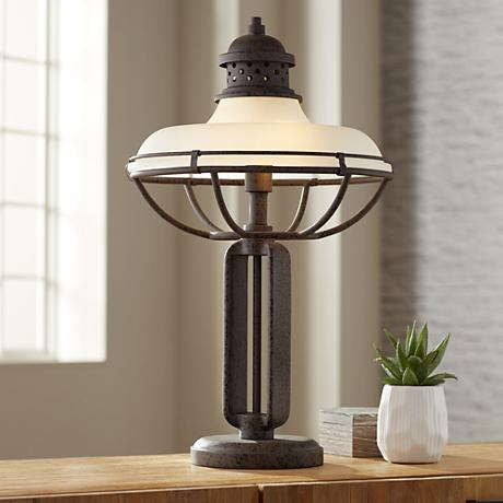 Franklin Iron Works™ Glass And Metal Industrial Table Lamp