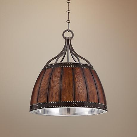 "Eurofase Mano 15 3/4"" Wide Wood and Forged Iron Pendant"