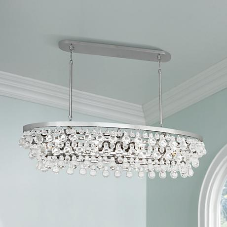 Robert Abbey Bling 42 3 4 Quot Wide Nickel Oval Chandelier