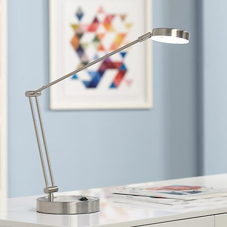 Jarrett Satin Nickel Contemporary Adjustable LED Desk Lamp