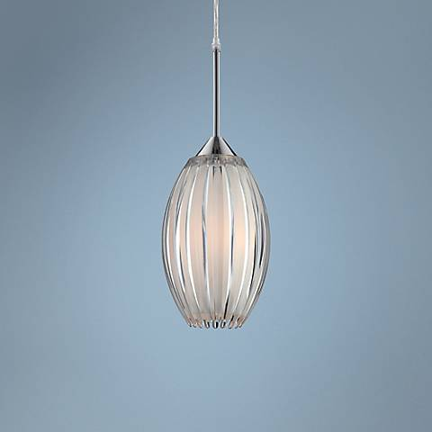 "Lite Source Lotuz 6 1/2"" Wide Chrome Pendant Light"