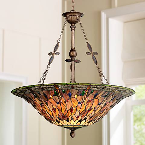 "Quoizel Dragonfly 35 1/2"" Wide Tiffany Style Pendant Light"