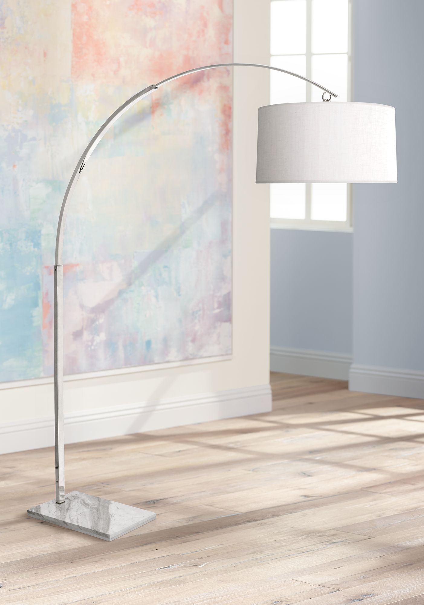 robert abbey archer polished nickel arc floor lamp - Arc Floor Lamps