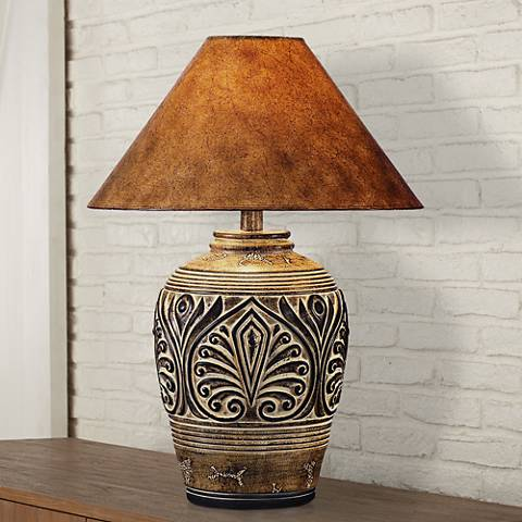 Brown Desert Sand Handcrafted Southwest Table Lamp - Brown Desert Sand Handcrafted Southwest Table Lamp - #3N717