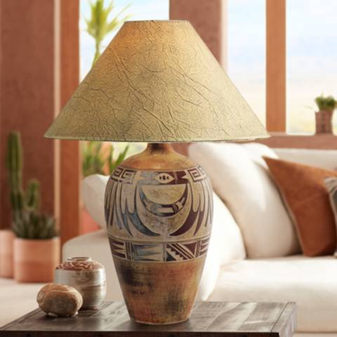 Indian Marigold Handcrafted Southwest Table Lamp 3n814