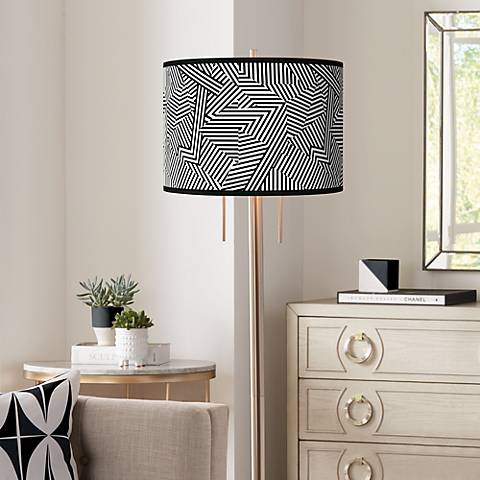 Labyrinth Giclee Brushed Nickel Garth Floor Lamp