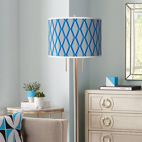 Bleu Matrix Giclee Brushed Nickel Garth Floor Lamp