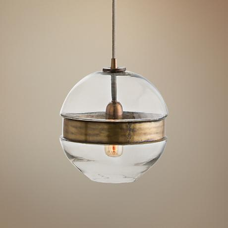 "Arteriors Home Garrison 9 1/2""W Brass and Glass Mini Pendant"