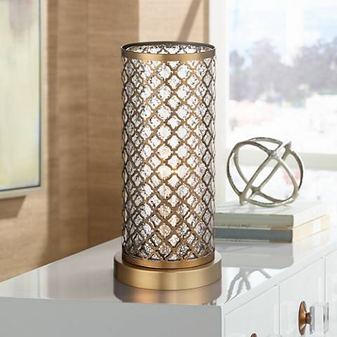 "Alcazar Brass and Mercury Glass 12"" High Accent Light"
