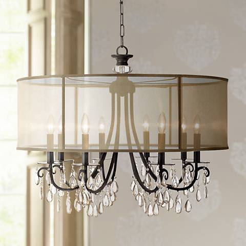 "Crystorama Hampton 32"" Wide English Bronze Chandelier"