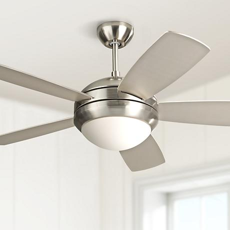 "44"" Monte Carlo Discus II Brushed Steel Ceiling Fan"