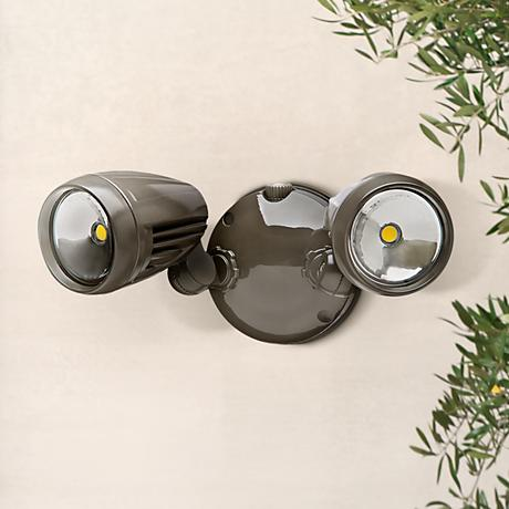 Brookdale 2-Light Dusk to Dawn LED Security Light in Bronze