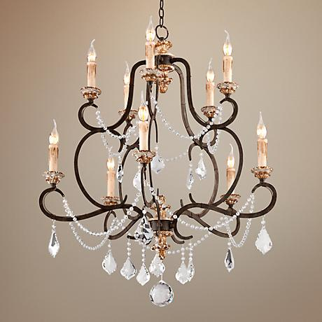 "Bordeaux Collection 32 1/4"" Wide Parisian Bronze Chandelier"