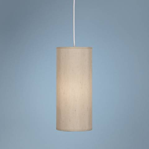 "Robert Abbey Elena 6"" Wide Taupe Fabric Shade Mini Pendant"