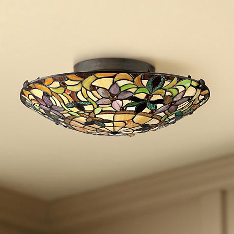 "Quoizel Kami 17"" Wide Vintage Bronze Ceiling Light"