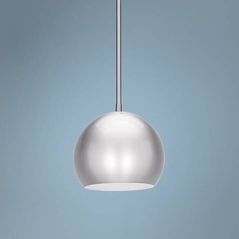 "Deco Ball 8"" Wide Brushed Steel Mini Pendant"