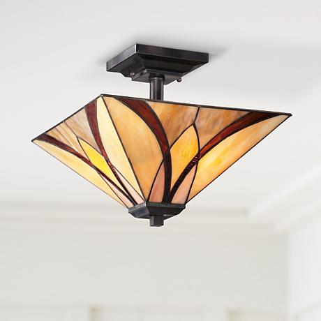 "Quoizel Asheville 14"" Wide Valiant Bronze Ceiling Light"