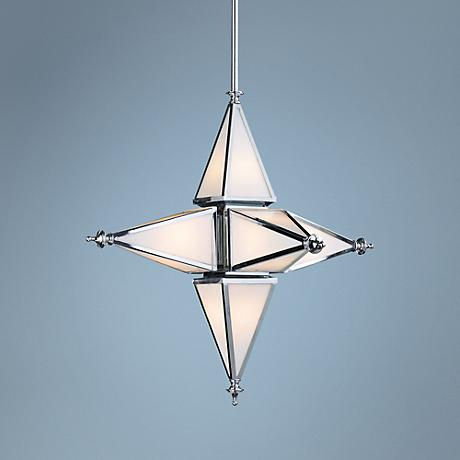 "Eloise 30"" Wide Chrome Star Pendant"