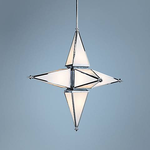 "Eloise 40"" Wide Chrome Star Pendant"