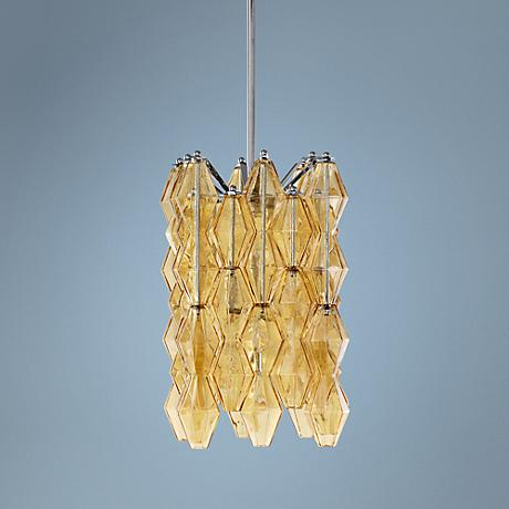 "Boho 13"" Wide Amber Glass Pendant Light"