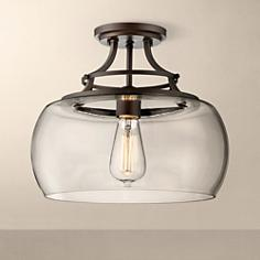 "Charleston Bronze 13 1/2"" Wide Clear Glass Ceiling Light"
