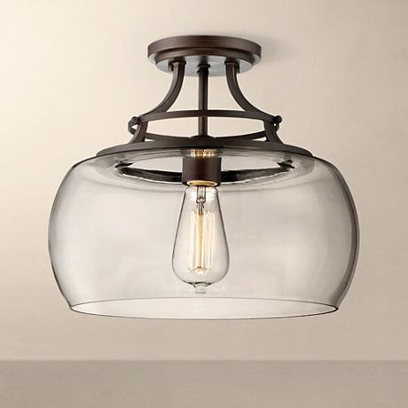Charleston bronze 13 1 2 wide clear glass ceiling light - Clear glass ceiling light ...