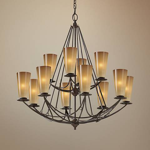 "Feiss El Nido 32"" Wide Mocha Bronze 12-Light Chandelier"