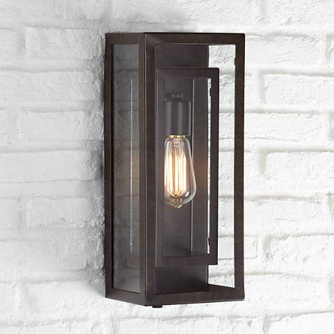 "Possini Euro Double Box 15 1/2""-H Bronze Outdoor Light"