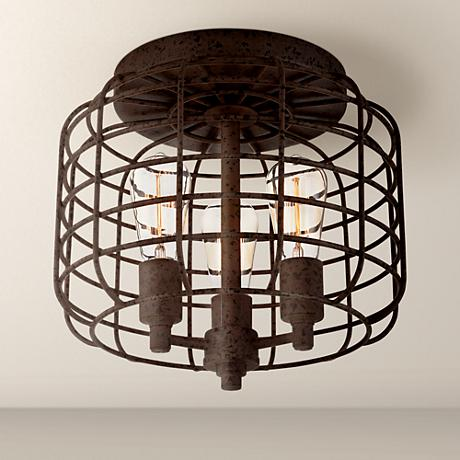 Larkin Industrial Rust Metal Cage Ceiling Light