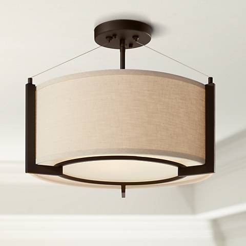 "Stinson 17 1/4"" Wide Linen and Bronze Ceiling Light"