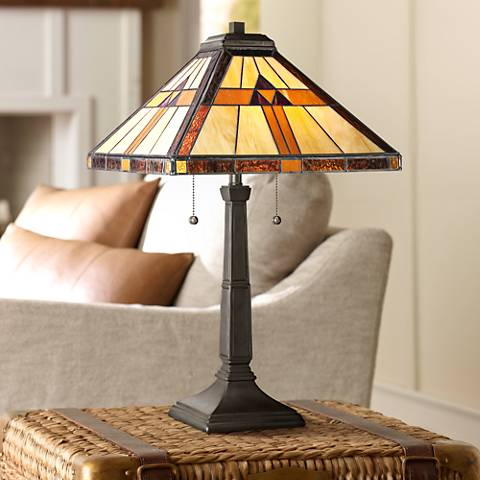 Quoizel Bryant Tiffany Style Architectural Table Lamp