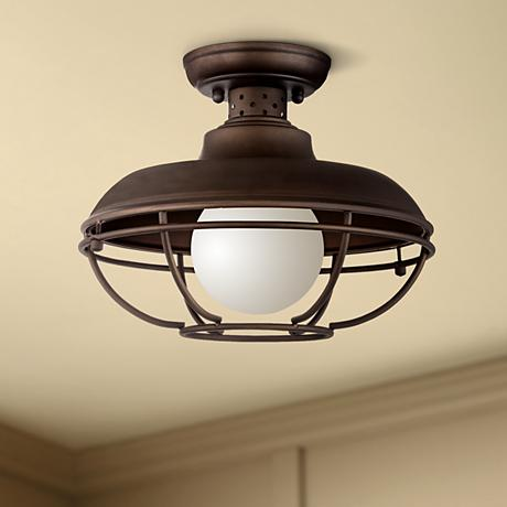 "Franklin Park Metal Cage 12"" Wide Bronze Ceiling Light"
