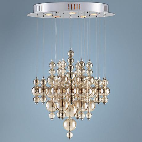 "Bubbles 26"" Wide Smoky Glass Iron Pendant Light"