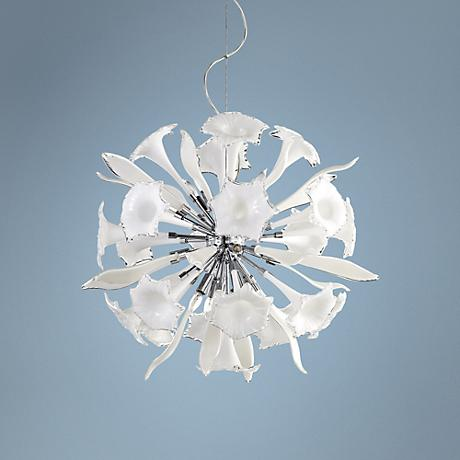 "Remy 33"" Wide White Glass Pendant Light"