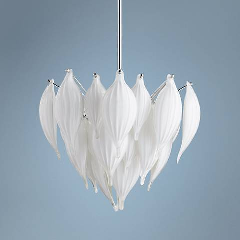 "Daisy 22"" Wide White Pendant Light"