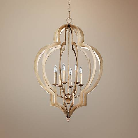"Vertigo 24"" Wide Silver Leaf Chandelier"