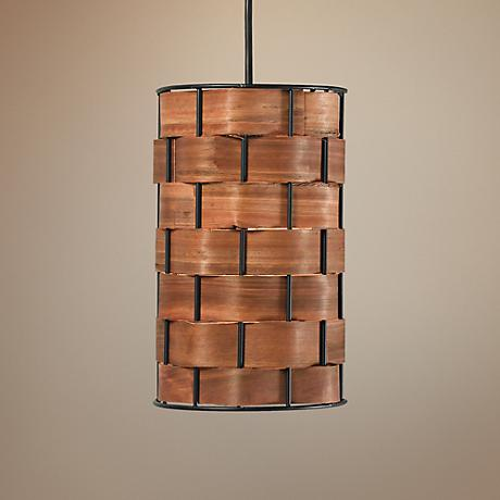 "Shaker 6"" Wide Basket Weave Mini Pendant"