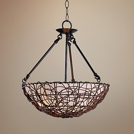"Thicket 16"" Wide Bronze Rattan Pendant"