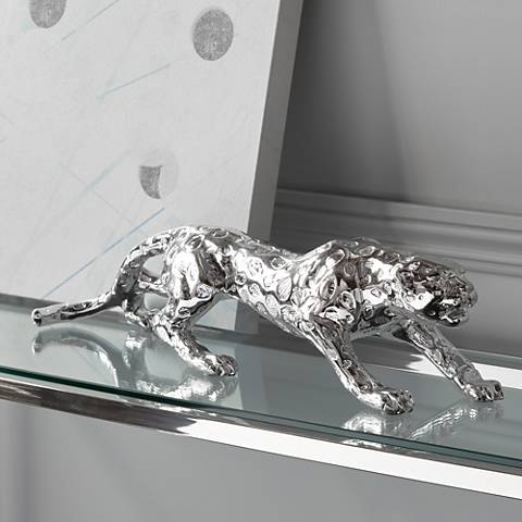"Prowling 23 1/2"" Wide Silver Mirror Leopard Table Sculpture"